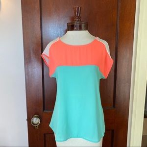 A'GACI bright, neon peach & teal top size small